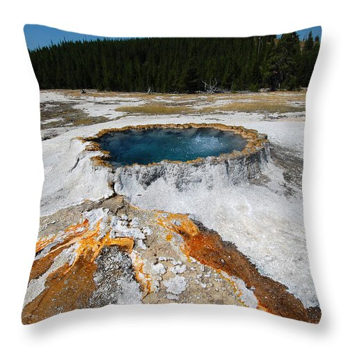 Punch Bowl Spring Throw Pillow featuring the photograph Punch Bowl Spring In Yellowstone by Debra Thompson