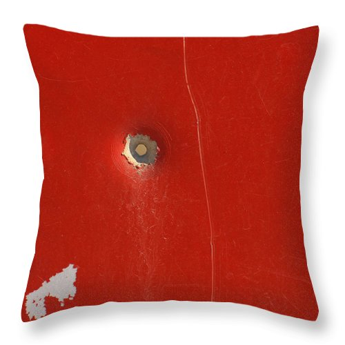 Bullet Throw Pillow featuring the photograph Punctured by Art Block Collections