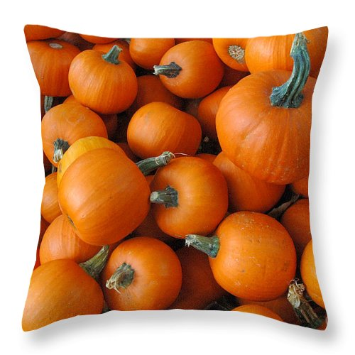Orange Throw Pillow featuring the photograph Punkin Head by Trish Hale