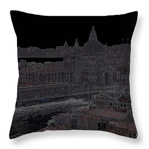 Punta Della Dogana Throw Pillow featuring the photograph Punta Dellla Dogana Panorama Drawing by Jacqueline M Lewis
