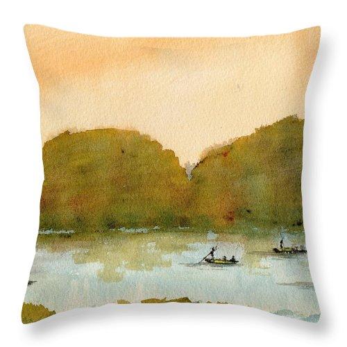 Punt Throw Pillow featuring the painting Punting On The Cam by Paul K Taylor