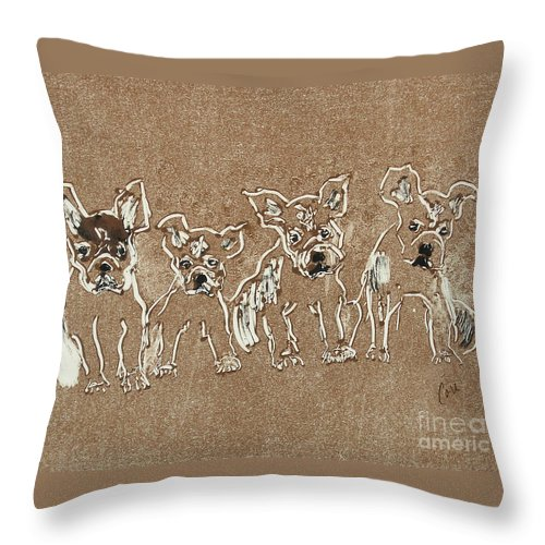 Puppy Throw Pillow featuring the mixed media Puppy Brigade by Cori Solomon