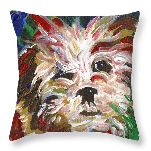 Puppy Throw Pillow featuring the painting Puppy Spirit 101 by Linda Mears