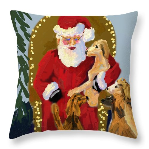 Christmas Throw Pillow featuring the painting Puppy Talk by Terry Chacon