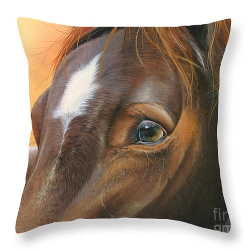 Horse Throw Pillow featuring the painting Pure Grace by Mike Brown