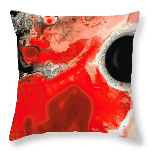 Sharon Cummings Throw Pillow featuring the painting Pure Passion - Red And Black Art Painting by Sharon Cummings