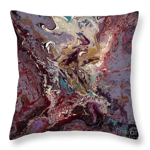 Purple Throw Pillow featuring the painting Purple Blitz by Nadine Rippelmeyer
