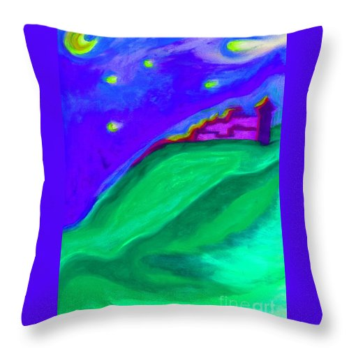Castle Throw Pillow featuring the painting Purple Castle By Jrr by First Star Art
