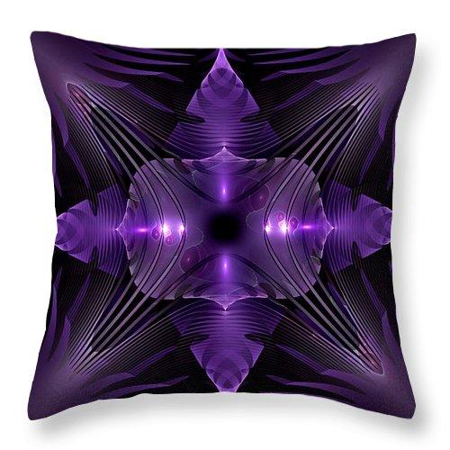 Fractal Throw Pillow featuring the digital art Purple Fingerz by GJ Blackman