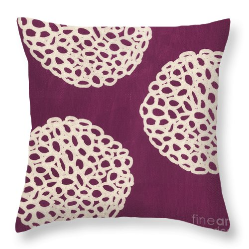 Purple Throw Pillow featuring the painting Purple Garden Bloom by Linda Woods
