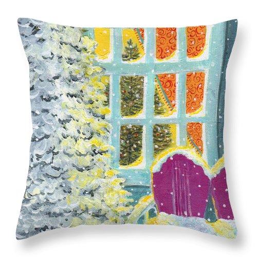 Snow Throw Pillow featuring the painting Purple Glider by Deborah Burow