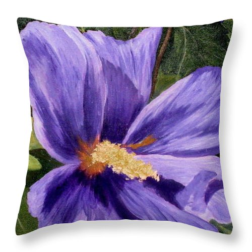 Hibiscus Throw Pillow featuring the painting Purple Hibiscus by Darla Brock
