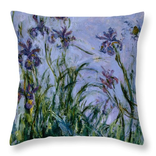 Purple Throw Pillow featuring the painting Purple Irises by Claude Monet