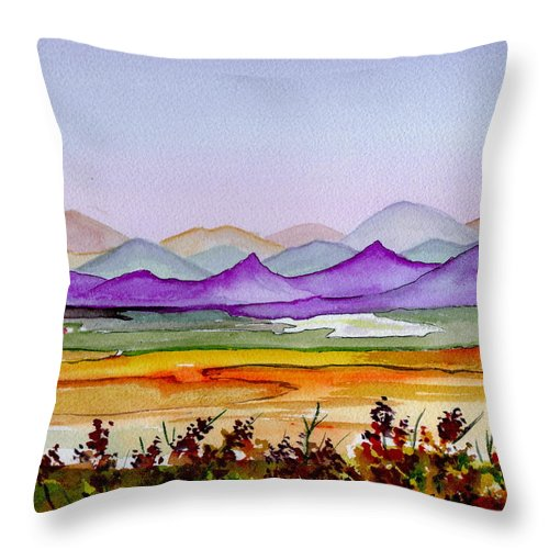 Landscape Throw Pillow featuring the painting Purple Mountain Majesty by Brenda Owen