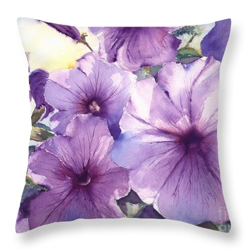 Purple Throw Pillow featuring the painting Purple Profusion by Patricia Henderson