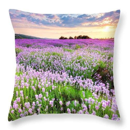 Bulgaria Throw Pillow featuring the photograph Purple Sea by Evgeni Dinev