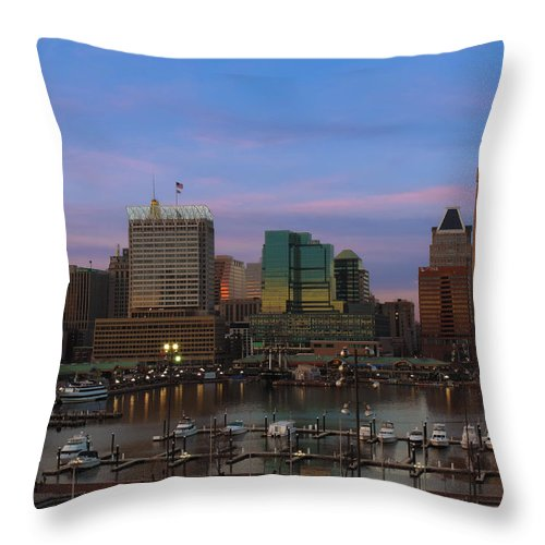 Baltimore Throw Pillow featuring the photograph Purple Sky Above Downtown Baltimore by Cityscape Photography