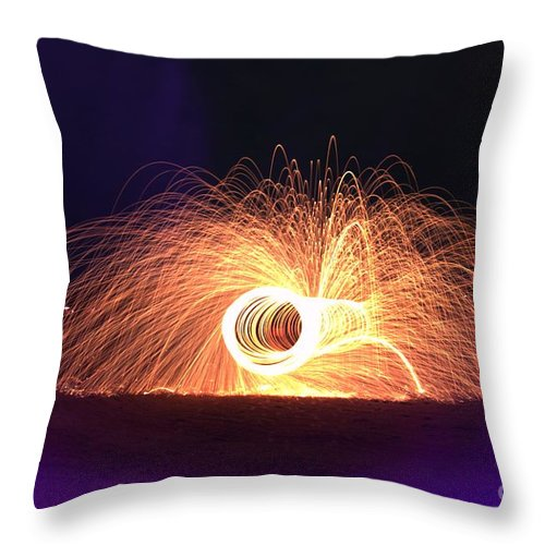 Spark Throw Pillow featuring the photograph Purple Spark Night by Janna and Kirk Davis