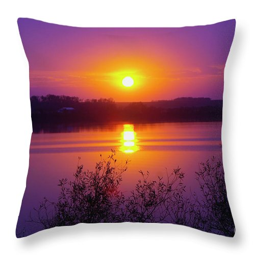 Lake Throw Pillow featuring the photograph Purple Sunset by Lori Tordsen