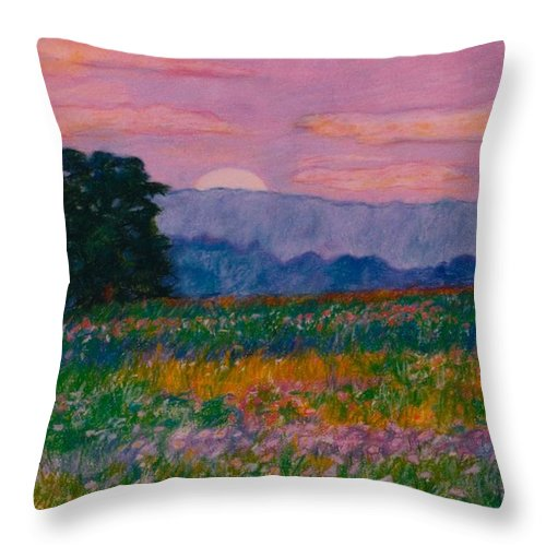 Kendall Kessler Throw Pillow featuring the painting Purple Sunset on the Blue Ridge by Kendall Kessler