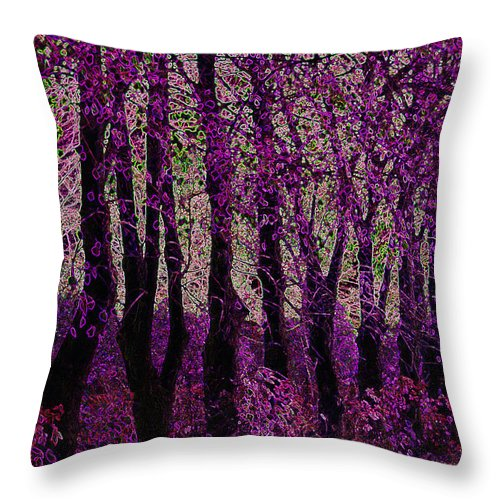Purple Throw Pillow featuring the digital art Purple Trees by Carol Lynch