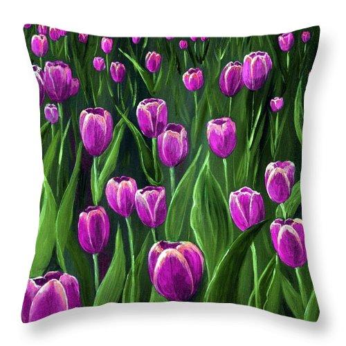 May Throw Pillow featuring the painting Purple Tulip Field by Anastasiya Malakhova