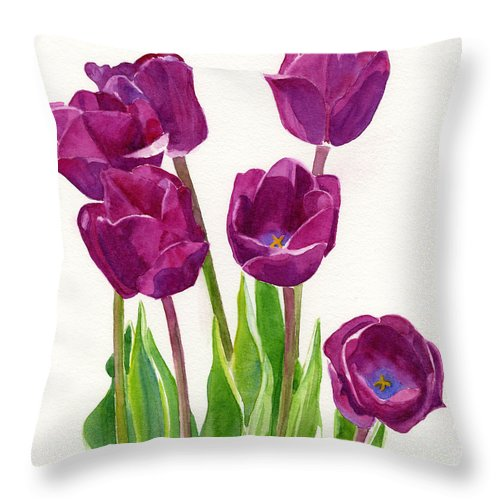Purple Throw Pillow featuring the painting Purple Tulips Square Design by Sharon Freeman