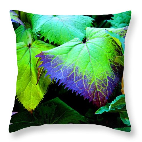 Leaves Throw Pillow featuring the photograph Purple Veins by Tap On Photo