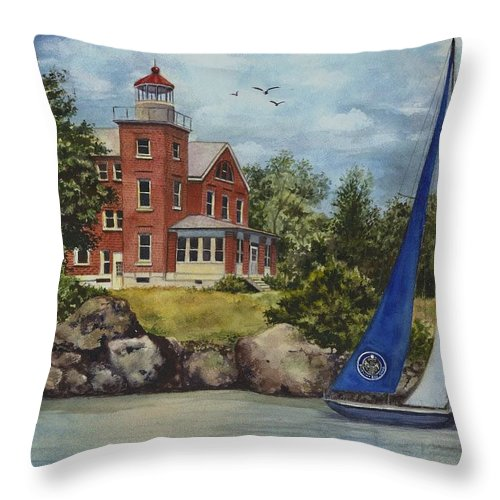 Put In Bay Lighthouse Painting Throw Pillow featuring the painting Put-in-bay Lighthouse by Terri Meyer