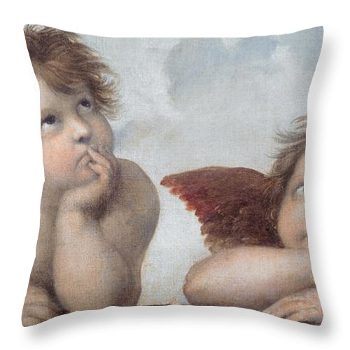 Putto Throw Pillow featuring the painting Putti Detail From The Sistine Madonna by Raphael