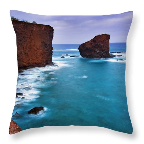Amazing Throw Pillow featuring the photograph Puu Pehe Rock by MakenaStockMedia - Printscapes