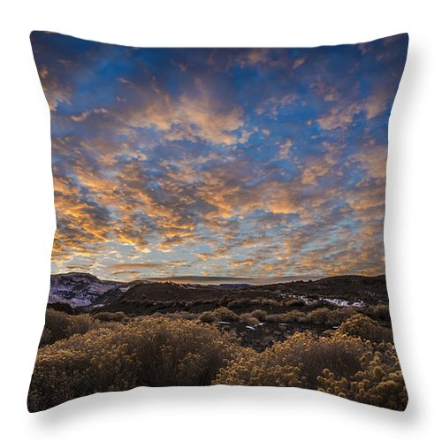 The Sky Put On Quite A Show For Me On A December Day At Pyramid Lake Throw Pillow featuring the photograph Pyramid Lake Sunset by Dianne Phelps