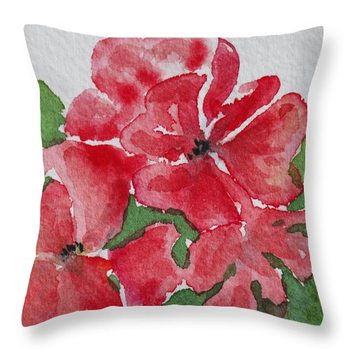 Floral Throw Pillow featuring the painting Pzzzazz by Mary Ellen Mueller Legault