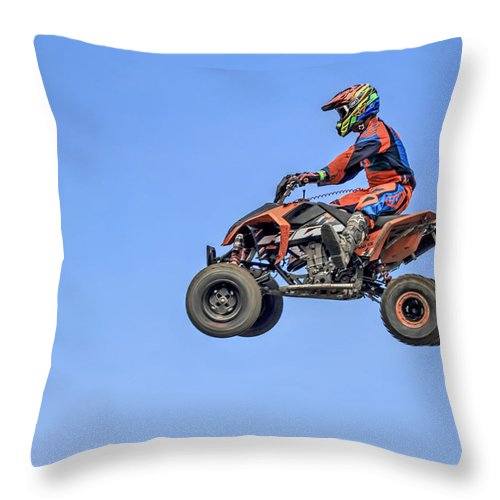 Recent Throw Pillow featuring the photograph Quad Flying Through The Air by Geraldine Scull