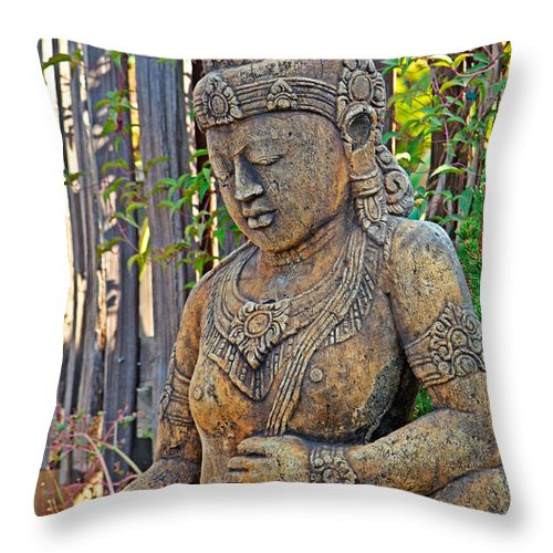 Quan Yin Throw Pillow featuring the photograph Quan Yin Statue by Charlene Mitchell