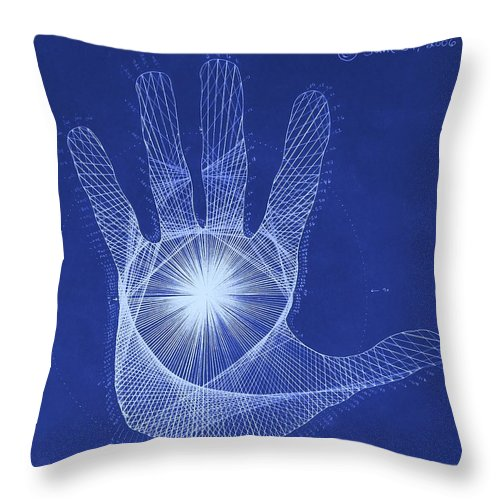 Hand Throw Pillow featuring the drawing Quantum Hand Through My Eyes by Jason Padgett