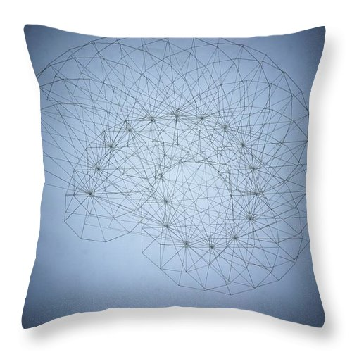 Seashell Throw Pillow featuring the drawing Quantum Nautilus Spotlight by Jason Padgett