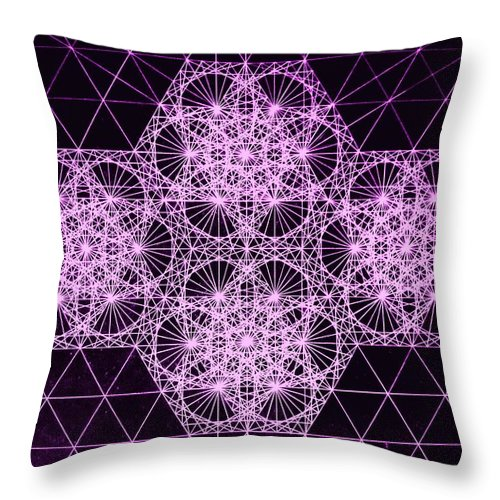 Quantum Throw Pillow featuring the drawing Quantum Snowfall by Jason Padgett