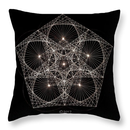 Star Throw Pillow featuring the drawing Quantum Star II by Jason Padgett