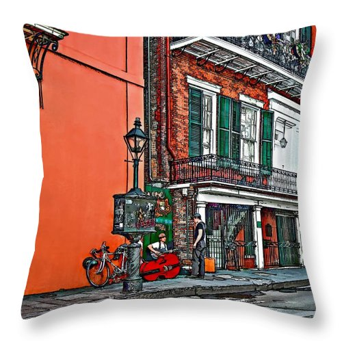 French Quarter Throw Pillow featuring the photograph Quarter Time Painted 2 by Steve Harrington