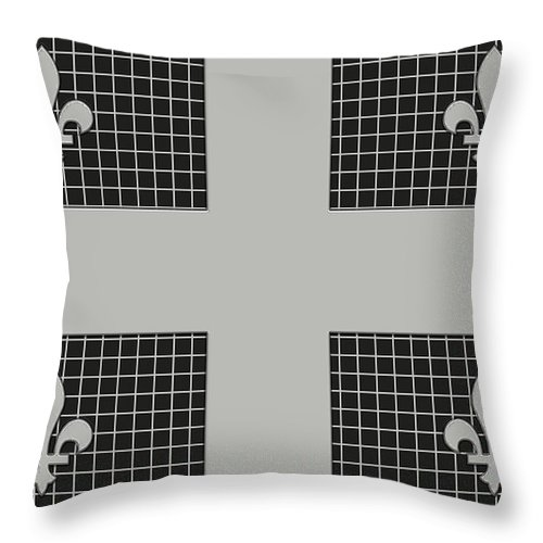 Quebec Throw Pillow featuring the digital art Quebec Metal Mesh Flag by David G Paul