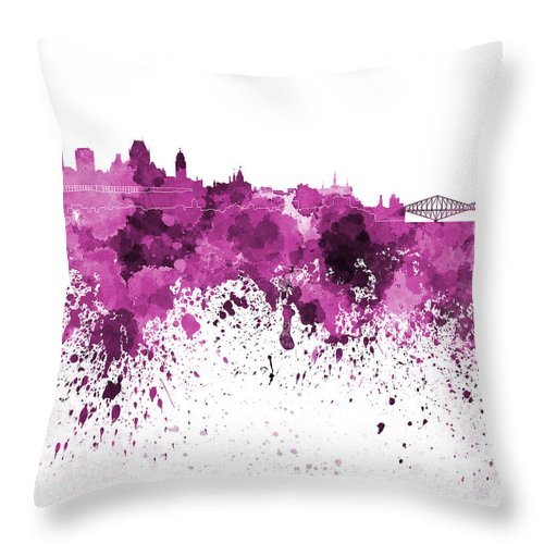 Quebec Skyline Throw Pillow featuring the painting Quebec Skyline In Pink Watercolor On White Background by Pablo Romero