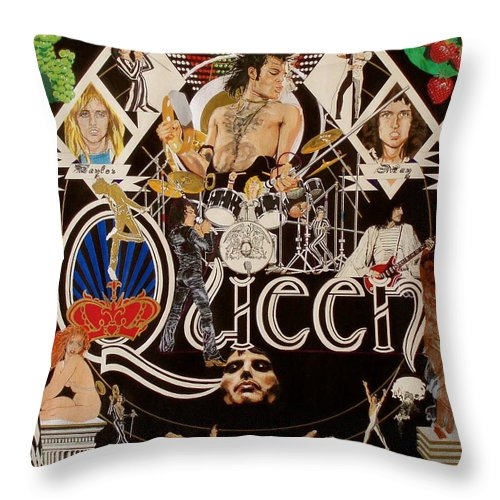 Freddie Mercury;brian May;roger Taylor;john Deacon;guitars;crown;royal;grapes;strawberries;drums; Throw Pillow featuring the drawing Queen - Black Queen White Queen by Sean Connolly