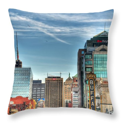Queen City Throw Pillow featuring the photograph Queen City Downtown by Michael Frank Jr