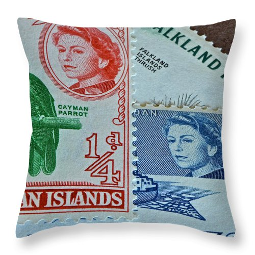 Queen Elizabeth Throw Pillow featuring the photograph Queen Elizabeth Stamp Collage by Bill Owen