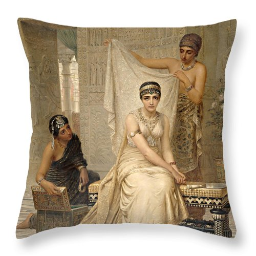 Edwin Long Throw Pillow featuring the painting Queen Esther by Edwin Long