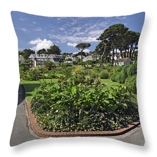 Britain Throw Pillow featuring the photograph Queen Mary Gardens - Falmouth by Rod Johnson