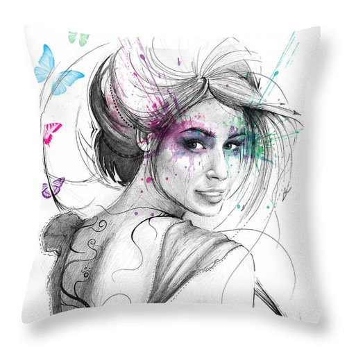 Butterflies Throw Pillow featuring the drawing Queen Of Butterflies by Olga Shvartsur