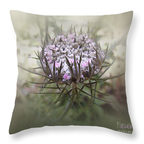 Queen Anne's Lace Throw Pillow featuring the digital art Queen Of The Mist by RC DeWinter