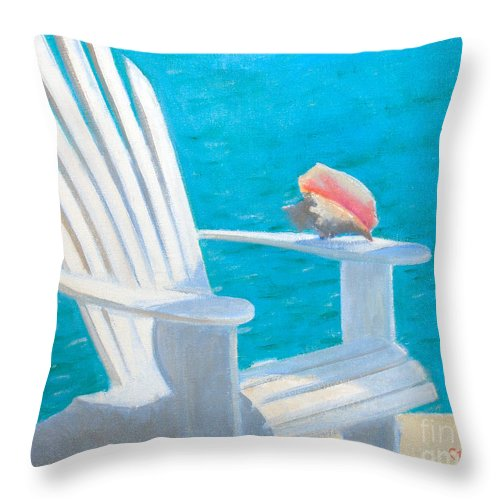Chair View With Shell Throw Pillow featuring the painting Queens Chair by Candace Lovely